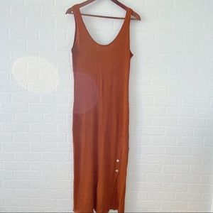 ZARA Rust Rib Knit Midi Dress with Scoop Neck